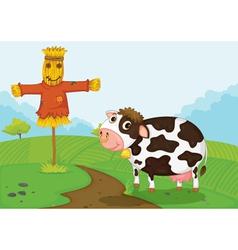 Cow at farm vector