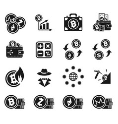 Cryptocurrency icon set vector