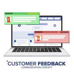 Customer review on laptop speech bubbles vector