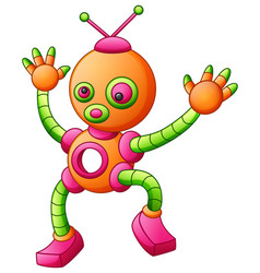 Cute cartoon dancing robot isolated on white backg vector