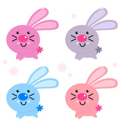 Cute colorful easter bunnies isolated on white vector image vector image