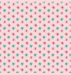 cute seamless butterflies background pattern pink vector image