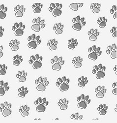 dog or cat paws seamless pattern vector image