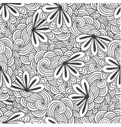 doodle seamless waves pattern with flowers in vector image