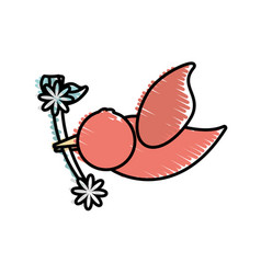 Dove branch flower symbol image vector