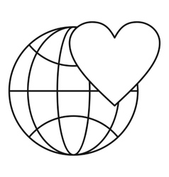 Earth world globe with heart icon outline style vector image