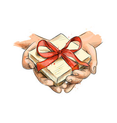 female hands holding a small gift wrapped with red vector image