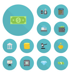 flat icons verdict money money box and other vector image