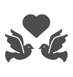 flying pigeons with heart solid icon love birds vector image
