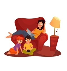 girl is watching online movie cartoon vector image
