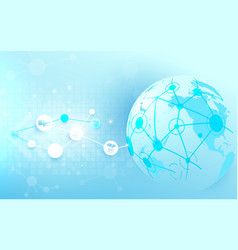global network connection and world map vector image