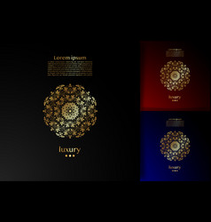 golden luxury mandala logo square template vector image