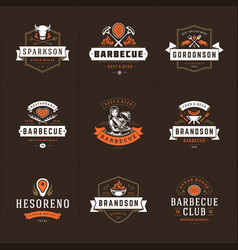 Grill and barbecue logos set vector
