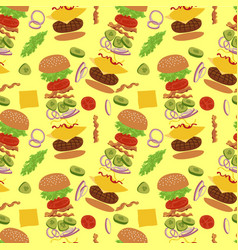 Hamburger seamless pattern vector