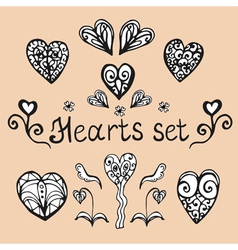 Hand drawn hearts vector image