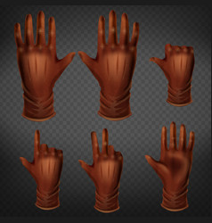 hand in leather glove gestures set human palm vector image