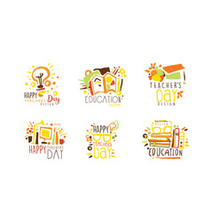 happy teachers day logo design collection vector image