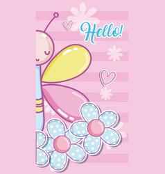Hello baby shower card vector