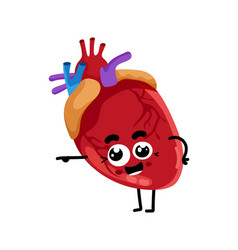 Human heart cute cartoon character vector