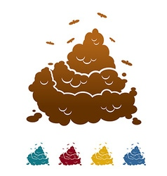 Icon flat style feces and flies vector