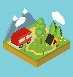 Iisometric camp flat 3d isometric pixel art vector