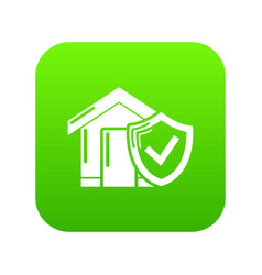 insurance home icon green vector image