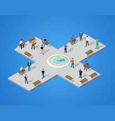 Isometric park with trees vector