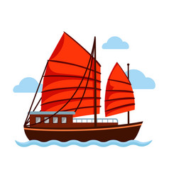 junk boat with red sail vector image
