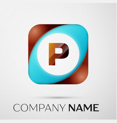 letter p logo symbol in the colorful square on vector image