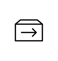 line shipping box icon on white background vector image