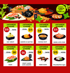 Lunch menu templates for japanese cuisine vector
