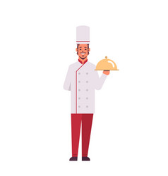 male professional chef cook holding covered vector image