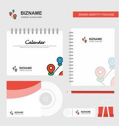 map route logo calendar template cd cover diary vector image