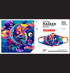 Masker design template and mockup with colorful vector