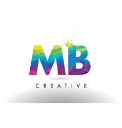 Mb m b colorful letter origami triangles design vector