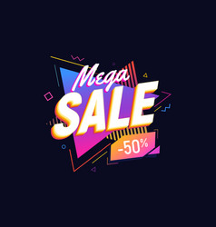 Mega sale on bright triangles background 90s retro vector