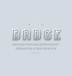 metal chrome hollow sans serif font vector image