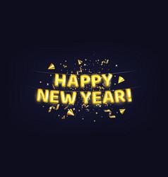 Metallic gold letter balloons happy new year vector