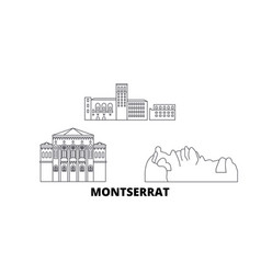 Montserrat line travel skyline set montserrat vector