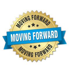 Moving forward round isolated gold badge vector