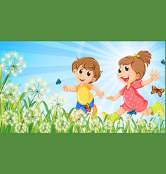 Nature scene background with happy children vector