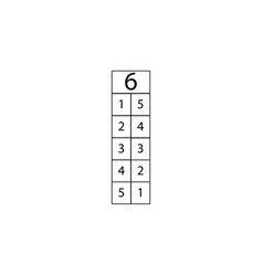 Number six composition table sign eps ten vector