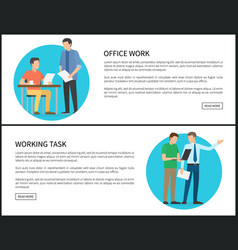 Office work and working task internet banners set vector