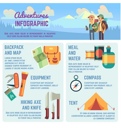 outdoors adventure infographics with hiking vector image