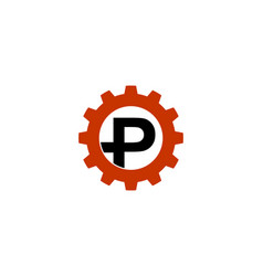 p letter gear logo vector image