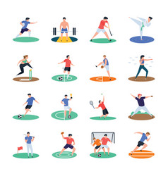 Pack of soccer cricket hockey sports player ic vector