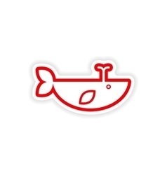 Paper sticker on white background whale with vector