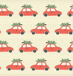 pattern red car with christmas tree on roof vector image