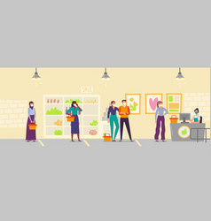 people in store line keeping social distance men vector image