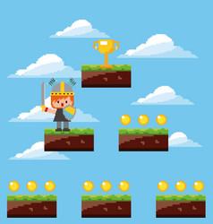Pixel game knight trophy levels sky clouds vector